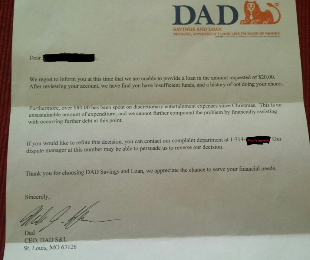 6 y/o asked Dad for an advance on his allowance